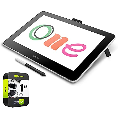 Wacom Dtc133W0A One Digital Drawing Tablet + 13.3' Screen (Renewed) Bundle With 1 Year Extended Protection Plan