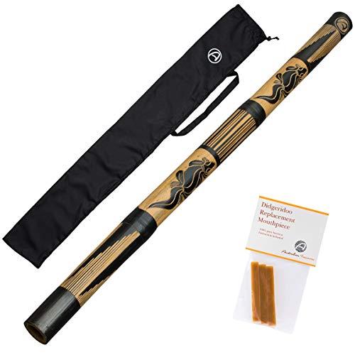 Australian Treasures - Bambus holz didgeridoo 120cm - Bienenwachs - Didgeridootasche - Didgeridoo für Einsteiger