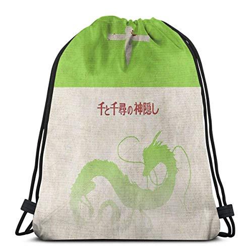 AEMAPE Ghibli Minimalista 'El Viaje de Chihiro' Mochila Deportiva Plegable Impermeable Bolsa de Gimnasio Saco Mochila con cordón 36x43 cm