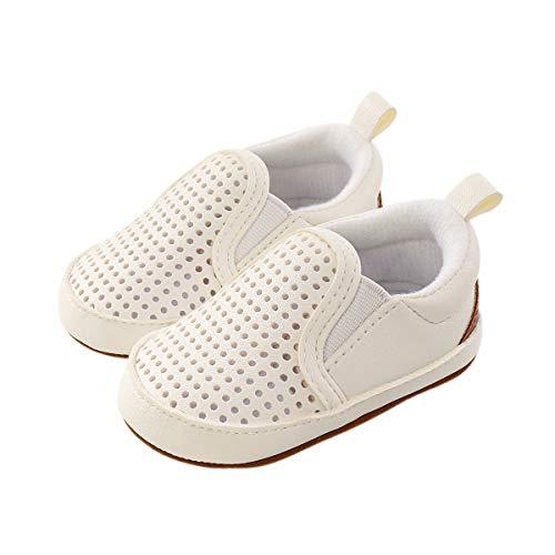 DEBAIJIA Bebé Primeros Pasos Zapatos 6-12M Niños Suave Suela Antideslizante Ligero Slip-on Zapatillas 18 EU Blanco (6-12)