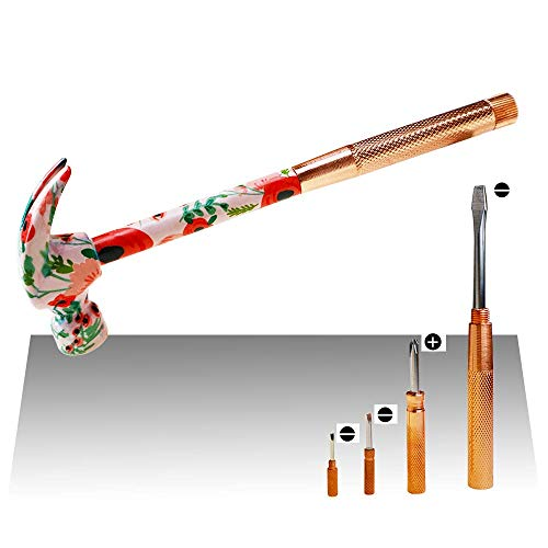 GS Tools 6 In 1 Claw Hammer and Screwdriver Set with Floral Print, Multi Tool with Slotted 2, 3, 4.5, PH 1, Tack Puller and Hammer Best Gift for Him and Her