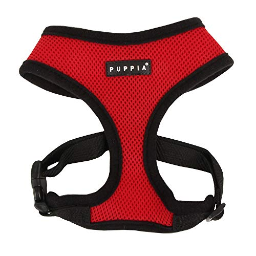 Puppia Soft Dog Harness No Choke Over-The-Head Triple Layered Breathable Mesh Adjustable Chest Belt and Quick-Release Buckle, Red, Small