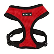 Puppia Soft Dog Harness No Choke Over-The-Head Triple Layered Breathable Mesh Adjustable Chest Belt and Quick-Release Buckle