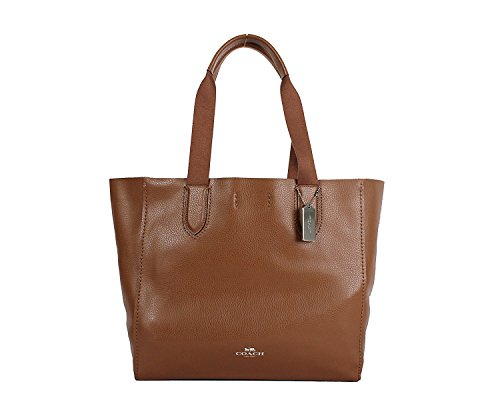 COACH F59818 LARGE DERBY TOTE IN PEBBLE LEATHER SADDLE/BLACK