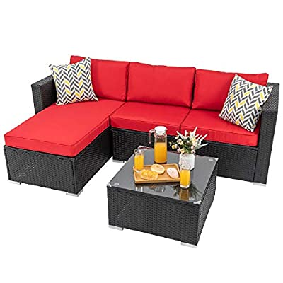 Shintenchi Outdoor Wicker Patio Sofa Set, Black All-Weather Rattan Small Sectional Patio Set and Chaise Lounge w/ Glass Coffee Table and Washable Couch Cushions Patio Conversation Set (3 Piece,Red)