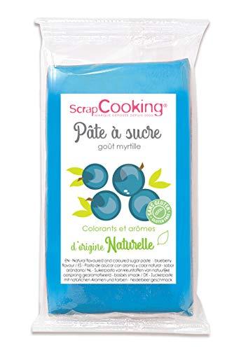 Pâte à Sucre Bleu Goût Myrtille d'Origine Naturelle 250 g
