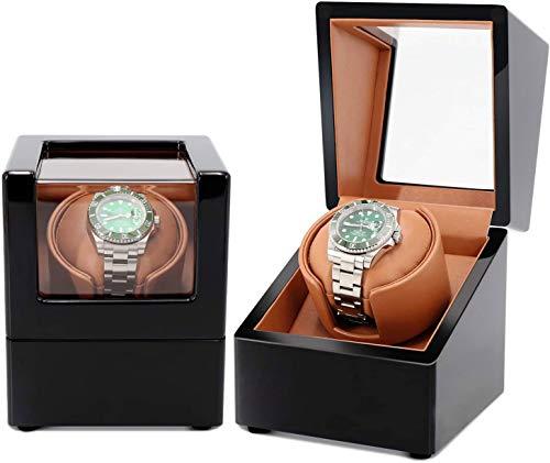 SMSOM Winder automático de Relojes Individuales con Relojes duraderos Almohada PU + Wood Watch Turner Box Reloj de Motor Spinner Case Fit Dama y Hombre Relojes
