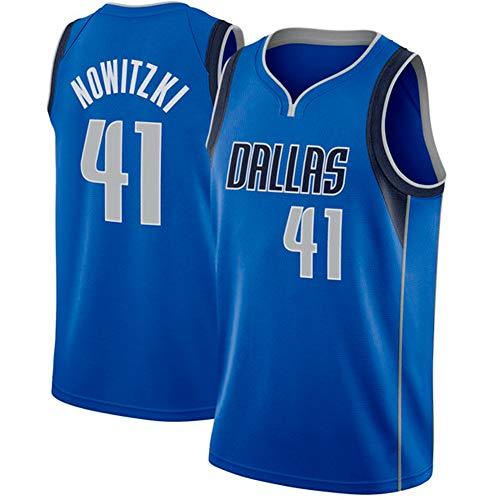 Ruimei Herren Basketball Trikot Dallas Mavericks # 41 Dirk Nowitzki Trikot (Blau -41, XXL)