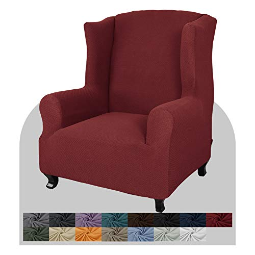 JIVINER Super Stretch Wingback Chair Slipcover 1-Piece Soft Spandex Jacquard Wing Chair Cover Living Room Slipcovers for Wingback Chairs with Foam Rods (Wingback Chair, Wine Red)