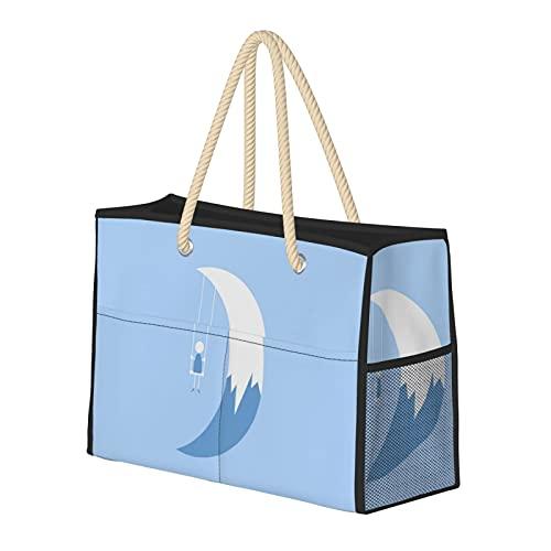 ムーンスイング 防水プールビーチバッグ多機能印刷ファッションユニセックス35.00 * 26.00 * 4.00