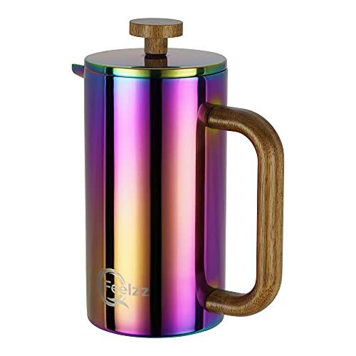 QFeelzz French Press mit stylischem Akazien-Holz im schillernden Regenbogen Design - hochwertiger Kaffeebereiter inkl. Ersatzfiltern [600ml]