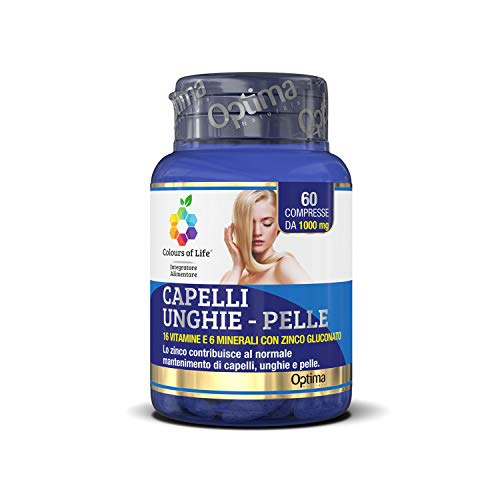 Colours Of Life Capelli-Unghie-Pelle - Integratore Multivitaminico con 16 Vitamine e 6 Minerali, con Zinco - per la Salute di Capelli, Unghie e Pelle - senza Glutine e Vegano, 60 Compresse
