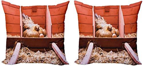 LXJ-CQ Funda de Almohada Decorativa para Animales de Granja Paquete de 2 Fotos de cría con gallina ponedora Incubación Dentro de la Jaula y Huevos Funda de cojín del sofá 18