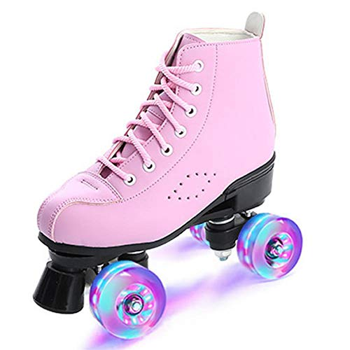 Rosa Roller Skates Rollschuhschuhe Skates Rollschuhe für Damen Herren Skate Gear Rollschuhe Retro High Top Design Indoor Outdoor Rollschuhe mit Leuchtenden Rädern,45