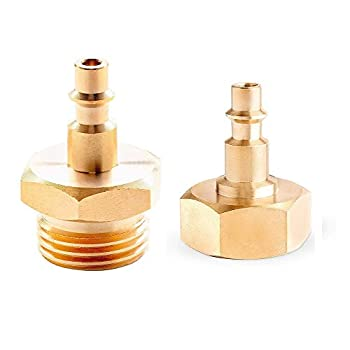 Lead-Free Brass Winterize Sprinkler Systems Blowout Plug Quick Connect Air Compressor 1/4  Adapter   Fits Garden Hose 3/4  Threading Water Blowout Adapter Fitting to RV and Campe  2