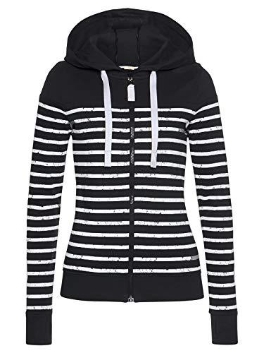 ELFIN Chaqueta con capucha para mujer, diseño de rayas Negro L
