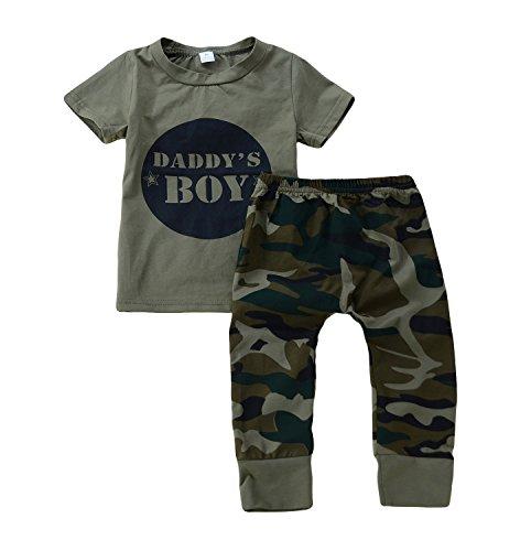 Juego de 2 piezas de ropa para niños pequeños y niñas, camiseta de camuflaje, pantalones suelos, ropa Diseño de camuflaje. 18-24 Meses