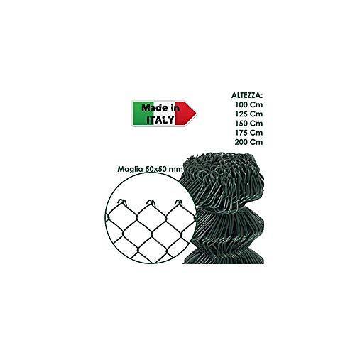ROTOLO 25 m RETE METALLICA ZINCATA PLASTIFICATA PER RECINZIONE A MAGLIA LIBERA (150 cm)