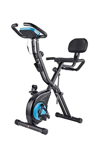 WENHAUS - Bicicleta estática Avanzada con Pantalla LCD, Bicicleta de Spinning, Plegable, Niveles de Resistencia Ajustables, con sensores de Pulso de Mano, Plegable (Azul)