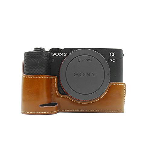 kinokoo SONY ソニー デジタルカメラ A7C ケース a7c専用 カメラケース ボディケース バッテリーの交換でき 三脚ネジ穴付き PUレザー(ブラウン)