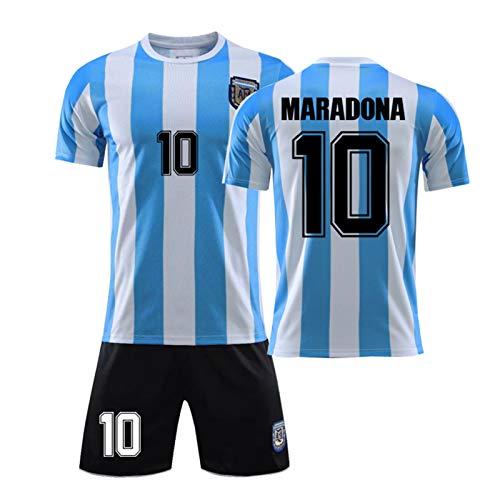 WSYB Maradona Argentina 86 Retro 1986 Argentina Football Team Replica Jersey, Argentina Retro Jersey, T-Shirt and Shorts, Commemorative Jersey,Blue 1-L