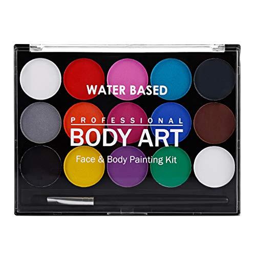 Hellery 15 Couleurs Professionnel Palette pour le Visage - Non Toxiques - pour Fêtes, Body Painting Halloween Maquillage