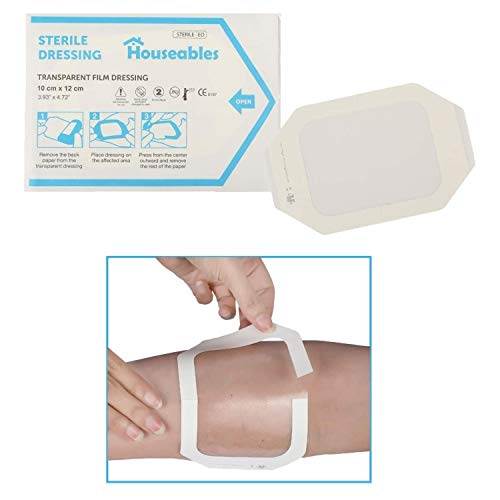 "Houseables Transparent Dressing, Waterproof Wound Seal, 4""x 5"", 50 Pack, Clear, Film, Shower Shield Dressings, Large Bandages, Surgical, for Tattoo Protection, Wounds, Dialysis Catheter Shields"