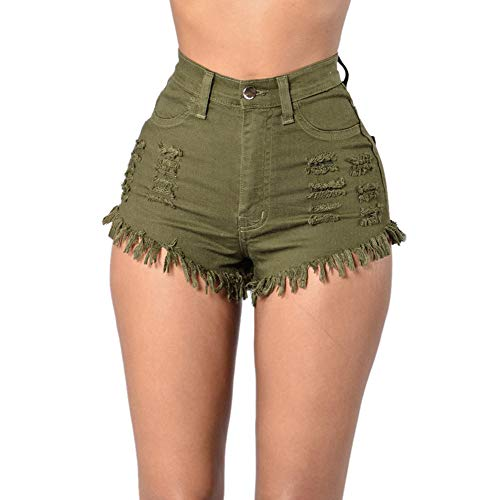 Fashion Women Pants KIKOY Sale,Summer High Waist Ripped Casual Slim Denim Jeans Army Green