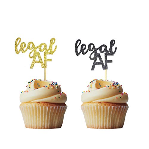 Morndew 24 PCS Black Gold Glitter Legal AF Cupcake Toppers for 18th / 19th / 21st Birthday Party Wedding Party Decorations