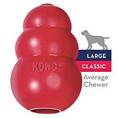 INSTINCTUAL NEEDS: The KONG Classic red rubber toy helps satisfy dogs' instinctual needs and provides mental stimulation. Healthy play is important for dogs' physical and mental development, emotions and behavior. By encouraging healthy play and sati...