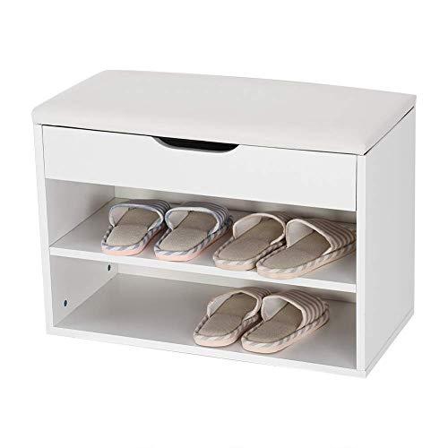 SHBV Gabinete de Madera para Zapatos Banco de Almacenamiento de Zapatos Blanco de 2 Niveles con Asiento Organizador de Zapatos para el hogar Estante para Zapatos con cojín de Asiento para entr