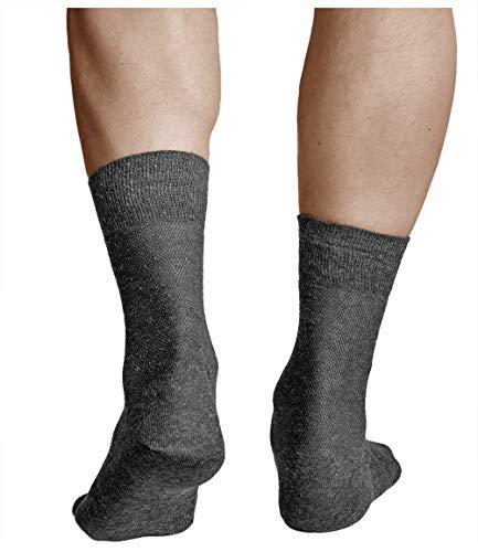 vitsocks Calcetines Verano LINO-Algodón Hombre (3 PARES) Muy Transpirables, gris oscuro, 39-41