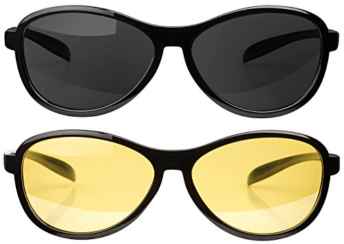 PEARL Sonnenbrillen: 2er-Set, Sonnen- & Nachtsichtbrille, polarisiert (Autobrillen)