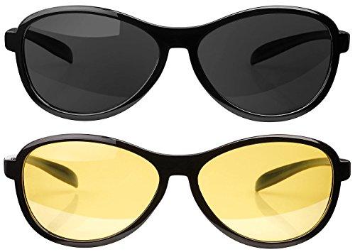 PEARL Autobrillen: 2er-Set, Sonnen- & Nachtsichtbrille, polarisiert (Polarisierende Sonnenbrille)