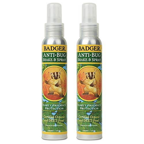 Badger - Anti-Bug Shake & Spray, DEET-Free Natural Bug Spray, Eco-Friendly, Certified Organic Mosquito Spray, Great for Kids, Insect Repellent, 4 Fl Oz (2 Pack)