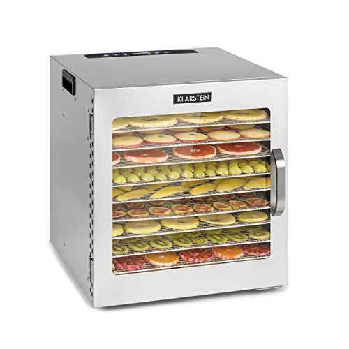 Klarstein Captain Jerky 110 - Deshidratador de alimentos, Potencia 1000 W, Temperatura: 30-90 °C, Programable, Sin BPA, Panel táctil, 10 niveles, Puerta de vidrio, Acero inoxidable, Plateado
