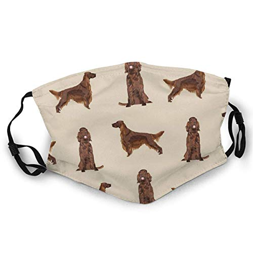 Dust Masks Full Face Mask Irish Setter Dog Breed Pet Pattern Gifts For Irish Setters Balaclavas Mouth Shield With 2 Filters