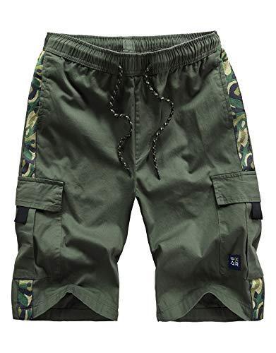 Narannbu Men's Cargo Shorts Size 38 Elastic Waist Relaxed Fit Lightweight Cotton Casual Shorts, Camo Army Green