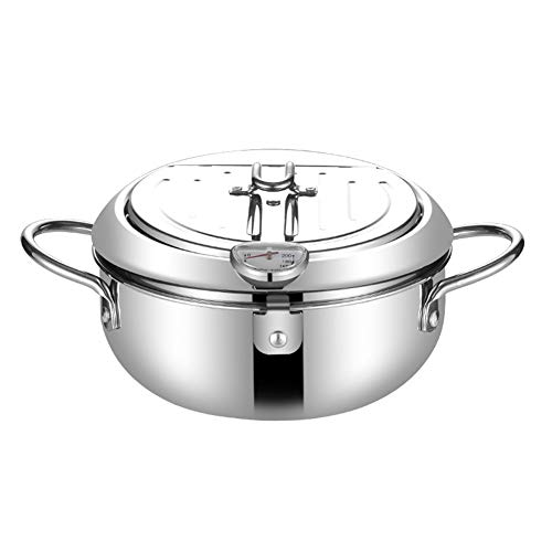 Deep Fryer Pot Stainless Steel Chip Pan Cooker with Degree Lid Frying Pot for Kitchen 20CM
