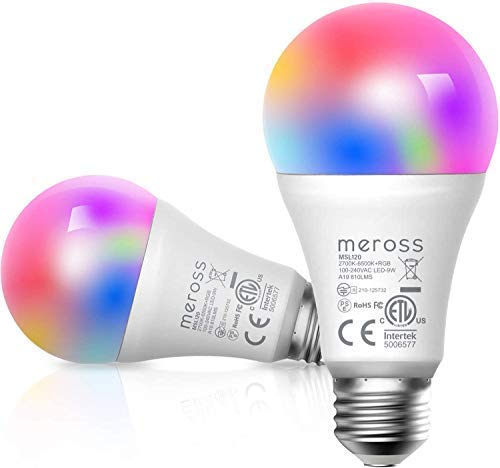 Smart WLAN Glühbirne, Meross intelligente Lampe Dimmbare Mehrfarbige LED Birne Fernbedienung E27 2700K-6500K kompatibel mit Alexa, Google Home und SmartThings, Warmweiß, 2 Stücke