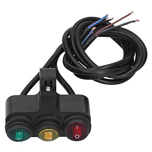 Interruptor de manillar, 12V 7 / 8in Interruptor de manillar 3 botones Controlador de focos de faros a prueba de agua con indicador LED de colores