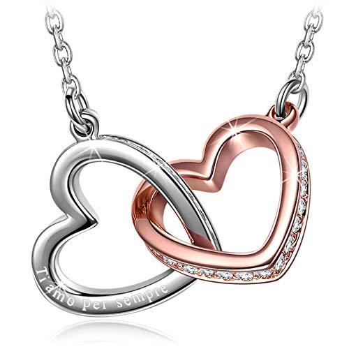 Kami Idea Collar para Mujer - Mi Destino - Colgante de Corazón a Corazón, Cristales de Swarovski, Joyas de Moda de Oro Rosa para Mujer, Paquete de Regalo