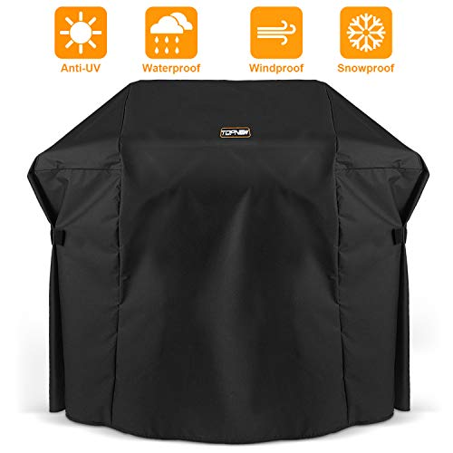 TOPNEW BBQ Gas Grill Cover, 600D Heavy Duty Waterproof UV Resistant Weather Resistant Durable Outdoor Barbeque Grill Cover for Most Grill (52 Inch, Black) Covers Grill