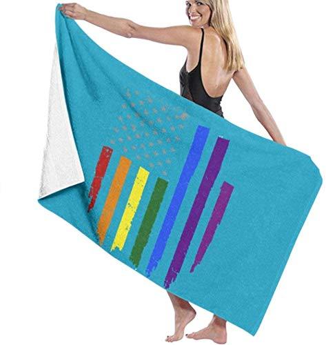 Las toallas de baño de microfibra súper suaves se utilizan para baños en interiores, piscinas de aguas termales y spa de hoteles,Toalla súper absorbente con bandera del arco iris del orgullo gay