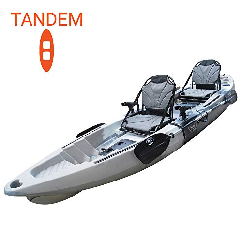 BKC TK122U 12' 6' Tandem 2 or 3 Person SIt On Top Fishing Kayak w/Upright Aluminum Frame Seats, 2 Paddles and 4 Fishing Rod Holders Included