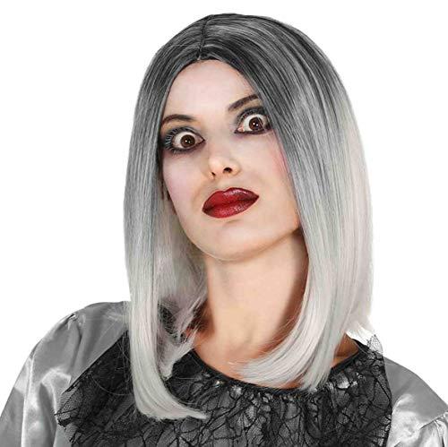 Guirca Deluxe Damenperücke Bob lang schwarz weiß Perücke Hexenperücke Party Halloween