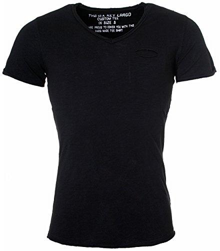 KEY LARGO Herren Vintage Used Destroyed Look Uni T-Shirt Soda New v-Neck tiefer V-Ausschnitt Slim fit tailliert einfarbig T00619, Grösse:M, Farbe:Schwarz