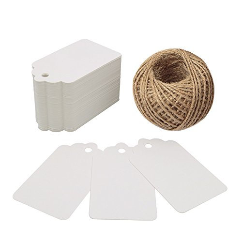 White Gift Tags,100PCS Paper Tags with 100 Feet Jute String for Arts and Crafts, Wedding Christmas Day Thanksgiving,7 cm X 4 cm