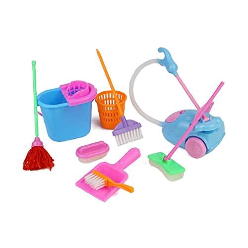 Ohomr Los Juegos de simulación del hogar Toy Kit Mini Aspirador de Limpieza Escoba de la fregona Herramientas Accesorios Juguetes Ware Juguetes para niños 9pcs Chicas