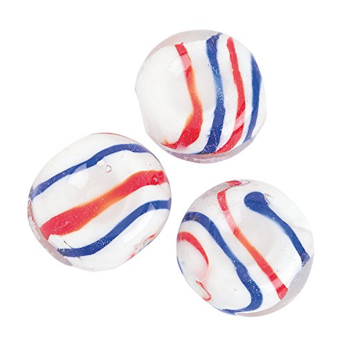 Fun Express - Patriotic Swirl Flat Round Glass Beads for Fourth of July - Craft Supplies - Adult...